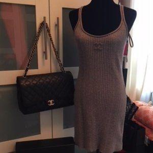 CHANEL sleeveless metallic knit summer dress EU 38